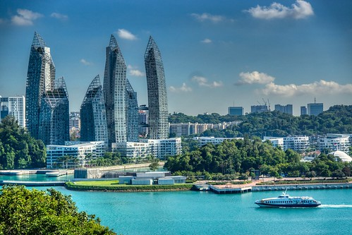 Keppel Bay luxury dwellings seen from Fort Siloso on Sentosa island in Singapore