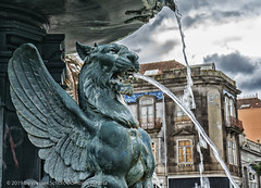 Mythical Creature on a Fountain (My digital Gallery) Tags: porto portugal europe mythical creature fountain water