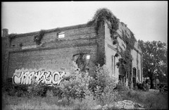 industrial building, abandoned, urban decay, River District, Asheville, NC, Minolta Freedom Dual 60, Eastman Kodak Double-X 200, HC-110 developer, 5.31.19 (steve aimone) Tags: architecture warehouse brick abandoned urbanlandscape urbandecay graffiti overgrown riverdistrict asheville northcarolina minoltafreedomdual60 eastmankodakdoublex200 hc110developer 35mm 35mmfilm film blackandwhite monochrome monochromatic