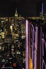 Art Deco Giants (Matt Straite Photography) Tags: empire state new york newyork color art deco lights night perspective skyscraper building city dark blend