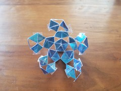 Open Icosahedron in Progress (Happy Monkey) Tags: blue tape craft tapecraft art arts crafts monofilament line monofilamentline card cardboard triangle triangles pentagon pentagons icosahedron hollow opwn polyhedron polyhedra