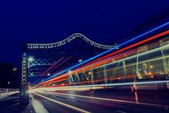 Streetcars (mrsparr) Tags: toronto longexposure ontario canada streetcars bridge night nikon odc