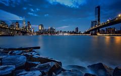 Dumbo (Kathy Macpherson Baca) Tags: newyorkcity brooklyn dumbo bluehour brooklynbridge manhattanbridge urban world skyline cityscape earth planet eastriver