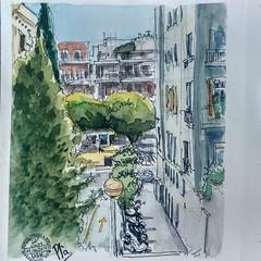 Carrer Gualbes (Fotero) Tags: instagram usk urbansketch uskspain urbansketching urbansketcher dibujo acuarela watercolor cuaderno cuaderno21 lamyexperience
