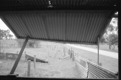 Propped (Karloskar) Tags: olympusom1 om1 ilford hp5 ddx film bw blackandwhite shearingshed