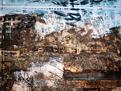 landscape abstract #2 (Pomo photos) Tags: landscape river lake graffiti surreal surrealism impressionism expressionism fujifilm xa10 color colored details doubleexposure house building abstract abstraction pond water grass letters letter lost word sky brown red green
