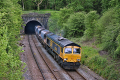 Glaston Tunnel (whosoever2) Tags: uk united kingdom gb great britain nikon d7100 train railway railroad may 2019 glaston tunnel gbrf 66744 crossrail 6m54 colnbrook bardonhill freight class66