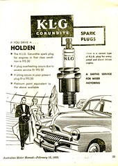 1955 KLG Corundite Spark Plags FJ Holden Sedan Aussie Original Magazine Advertisement (Darren Marlow) Tags: 1 5 9 19 55 1955 c corundite k l g klg s spark p plugs car v vehicle a automobile t truck tractor f j fj h holden 50s