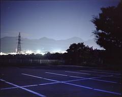 (✞bens▲n) Tags: mamiya 7ii fujifilm pn160ns 80mm f4 film analogue 6x7 landscape night dark parking lot blue lines nightscape mountains nagano japan