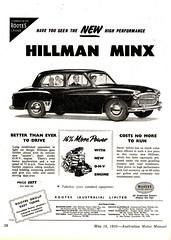 1955 Rootes Group Hillman Minx Sedan Aussie Original Magazine Advertisement (Darren Marlow) Tags: 1 5 9 19 55 1955 h hillman minx s sedan saloon c car cool collectible collectors classic r rootes g group chrome a automobile v vehicle e english england b british britain 50s