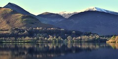 Tranquility (vincocamm) Tags: water lake boat hills mountains blue white snow green derwentwater catbells calm tranquil lakedistrict nationalpark english trees winter january canoe paddle nikon d5500 cumbria