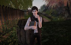 Blushing are you, boy? (Mordred!) Tags: teenager boy book forest fantasy garden adventure avatar alone secondlife sl story son family grass green kid lad outdoors outside innocent young youth yard teen trouble tree rp roleplay ranger river rustic explore elfling elf woods water quiet childavatar virtualworld nature medieval magic mischif emotion student stripling bridge fence barrel character cask day