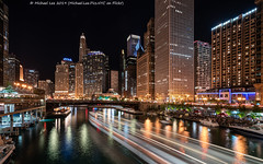 Chicago River (20190525-DSC03536-Edit) (Michael.Lee.Pics.NYC) Tags: chicago chicagoriver night composite longexposure lighttrail boat traffic chicagoriverwalk architecture cityscape dearbornstreet statestreet bridge reflection shiftlens sony a7rm2 laowa12mmf28 magicshiftconverter
