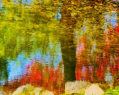 Ripple and reflections (joanne clifford) Tags: ontario impressionist watercolours red pink colours andrewhaydonpark water reflections ripples abstract nepean ottawa