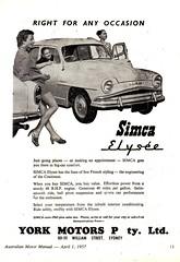 1957 York Motors PTY LTD Simca Elysee Sedan Aussie Original Magazine Advertisement (Darren Marlow) Tags: 1 5 7 9 19 57 1957 y york m motors s simca e elysee sedan c car cool collectible collectors classic chrome f fins a automobile v vehicle french france european europe 50s