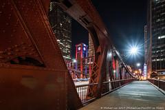 Clark Street Bridge (20190525-DSC03544-Edit) (Michael.Lee.Pics.NYC) Tags: chicago chicagoriver clarkstreetbridge reidmurdochcompanybuilding shiftlens architecture cityscape night longexposure lighttrail sony a7rm2 laowa12mmf28 magicshiftconverter