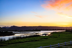 Sunset over the lagoon (Johann (Still Me!)) Tags: sunset lagoon vapourtrail contrail pspprisesurprisenuagesclouds makemesmile johanndejager ef50mmf14usm canoneos5dmarkiv cloud