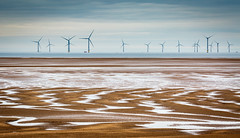 Liverpool Bay taken from Meols Beach 9863 (Mike Thornton 15) Tags: liverpool bay water sand windturbines boat sky clouds meols