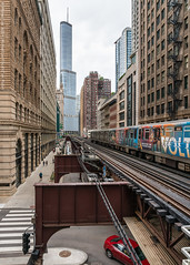 Wabash Avenue El (20190526-DSC03649) (Michael.Lee.Pics.NYC) Tags: chicago cta el washingtonwabash train trumpinternational architecture cityscape sony a7rm2 fe24105mmf4g