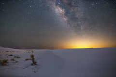 El Paso, We Have A Problem (Steven Christenson) Tags: whitesands nationalmonument milkyway elpaso lightpollution blended glow night sky stars sand yucca sanddune dune