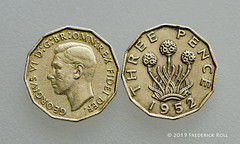 Pair of thurpenny bits! (© Freddie) Tags: coin ukcoin 3d thurpennybit pairofthurpennybits threepenny georgevi 1952 macro currency thrift fjroll ©freddie