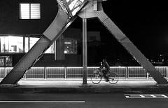 (cherco) Tags: alone architecture lonely light luz lineas night noche negro nocturne nocturna bicicleta blackandwhite blancoynegro bridge japan kanazawa bicycle bike road man composition canon composicion city ciudad triangle moment oscuridad momento monochrome markiii movimiento canoneos5diii columns happyplanet asiafavorites
