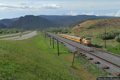 Hustling Through Henefer (jamesbelmont) Tags: unionpacific railroad railway train locomotive passenger streamliner ge et44ah henefer utah evanstonsubdivision interstate84 canyon webercanyon