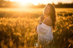 Golden Hour (popz.photographie) Tags: blé beautiful light goldenhour golden lights nature smile modele shoot shooting champs lumière sunset or dress robe blanc girl beauitful reflects bokeh