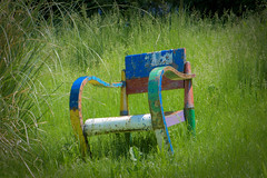 (Valérie C) Tags: chair grass colorful art abandoned old multicolor nikon green