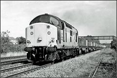37519, Shrewsbury (Jason 87030) Tags: grey 37519 tractor growler loco engine englishelectric bw bbw black white noir blanc salop shrewsbury scan negative image tren train steel empties shooton line railway uk