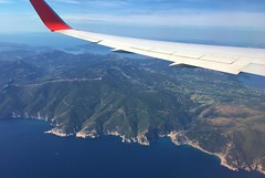Greek Coastline - landing at Athens, from Air Canada Rouge B767-300 (jeffglobalwanderer) Tags: aerialview aerialphoto viewfromaircraft aircanadarouge b767300 aircraftwing greece coastline europeantravel europe windowseat