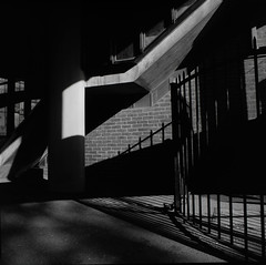 Shadow and light.  (Ilford Pan f) (suzannesullivan2) Tags: panf ilford london shadow light abstract architecture urban hc110 bronica