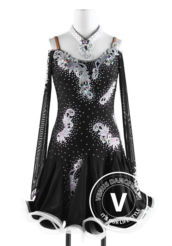 c889427ec58d Black Latin Competition Rumba Rhythm Dancing Dress (Venus Dancewear) Tags:  ballroomdress ballroomdancedress latindress