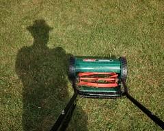 The mower man (Hi, I'm Tim.) Tags: mowerman mowing grass cut lawnmower selfie autoportrait autoport shadow fuji fujifilm x70 cutting lawn mow