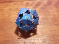 Open Icosahedron (Happy Monkey) Tags: blue tape craft tapecraft art arts crafts monofilament line monofilamentline card cardboard triangle triangles pentagon pentagons icosahedron hollow opwn polyhedron polyhedra