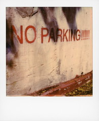 NO PARKING!!!!!! (tobysx70) Tags: polaroid originals color 600 instant film slr680 no parking holly mont drive beachwood canyon hollywood hills los angeles la california ca sign exclamation point mark wall red zone shadows patina toby hancock photography