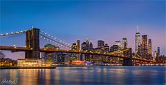 Brooklyn Bridge, New York (AdelheidS Photography) Tags: bigapple illumination citylights bluehour dumbo brooklynbridge america usa newyork adelheidsphotography