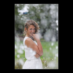 Portrait in Bokeh (KoenK68) Tags: portrait beautiful pretty young girl woman lady bride white dress curls blonde bokeh summer hot warm park water drops canon ©koenk68