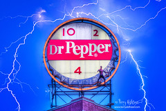 Dr. Pepper Sign Spiderman Lightning (Terry Aldhizer) Tags: terry aldhizer wwwterryaldhizercom dr pepper sign custom design business commercial photography spiderman far from home promotion lightning evening night roanoke virginia keurig