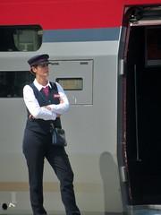 Thalys Attendant (Quetzalcoatl002) Tags: thalys trainstation train french conductrice uniform waiting internationaltravel