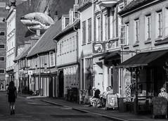 Lady and the t̶̶r̶̶a̶̶m̶̶p̶ Shark (michael_hamburg69) Tags: århus aarhus dänemark danmark denmark midtjylland jütland mural jaws hai vestergade vestergade64 shark artist painter künstler esketouborg wandbild streetart urbanart gablepainting latinerkvarteret latinerviertel person streetphotography street halftimber fachwerk streetcoffee billscoffee monochrome lady