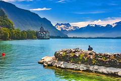 Smoke on the water, Spring time in Montreux & Château de Chillon. Canton of Vaud, Switzerland. No. 5550. (Izakigur) Tags: montreux deeppurple switzerland izakigur schwyz suiza lasuisse spring thelittleprince vaud suisseromande