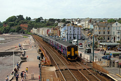 150238 150232 Dawlish (CD Sansome) Tags: dawlish station sea wall train trains gwr great western railway first sprinter 150238 150232