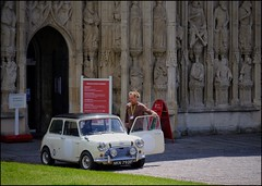 Cathedral Guided Tours (Lycia Moore) Tags: exeter cathedral mini person white old property car building vehicle street