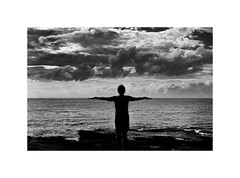Cloudscape (muzza_buck) Tags: clouds blackwhite monochrome seascape sea ocean sky silhouette silverefex massachusetts rocks