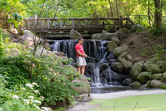 Fishing (thoth1618) Tags: bk ny nyc brooklyn newyork newyorkcity prospectpark prospect park pond waterfall man fishing spring 2019 june rocks bridge duckweed path trail tree trees leaves