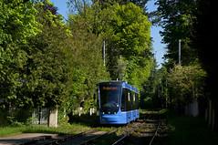 Erste Fahrt mit einem Avenio-Dreiteiler nach Grünwald: T3-Wagen 2753 kurz vor der Robert-Koch-Straße (Frederik Buchleitner) Tags: 2753 avenio grünwald munich münchen probefahrt siemens strasenbahn streetcar twagen t3 tram trambahn