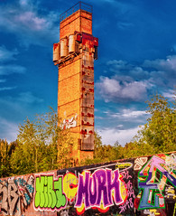 The beauty of the decay3 (Steppenwolf33) Tags: ruin industrial grafitti chimney berlin köpenick steppenwolf33 wall sunset factory