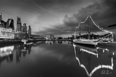 City Lights (Paio S.) Tags: bridge city night lights longexpo canon bw monochrome blackandwhite river clouds ship