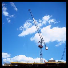 Ealing Filmworks Crane (Jamie Langford) Tags: velvia50 rolleiflex t35 120film ealingbroadway filmworks construction crane